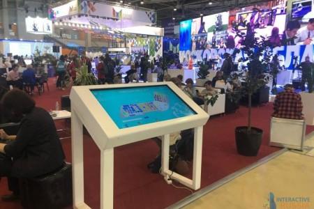 Компания Interactive Russia предоставила сенсорные столы и вертикальные стойки в аренду на выставку ММСО 2019